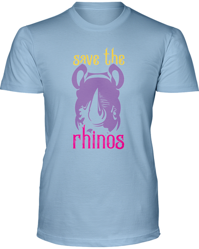 Save The Rhinos T-Shirt - Design 3 - Baby Blue / S - Clothing rhinos womens t-shirts