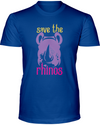 Save The Rhinos T-Shirt - Design 3 - Hthr True Royal / S - Clothing rhinos womens t-shirts
