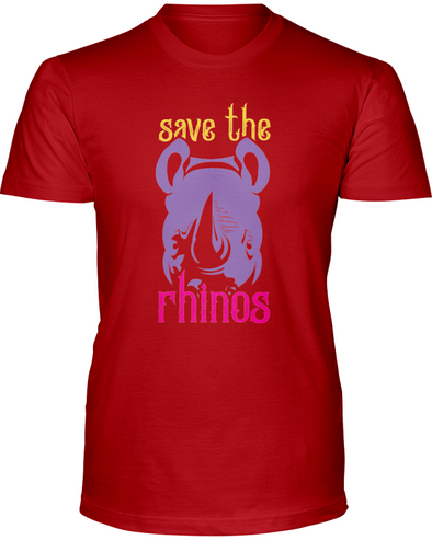 Save The Rhinos T-Shirt - Design 3 - Red / S - Clothing rhinos womens t-shirts
