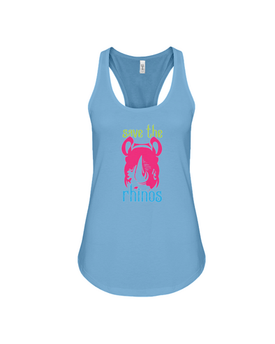 Save The Rhinos Tank-Top - Design 6 - Ocean Blue / S - Clothing rhinos womens t-shirts