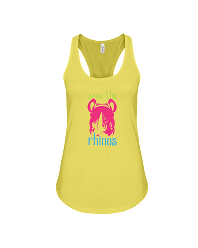 Save The Rhinos Tank-Top - Design 6 - Yellow / S - Clothing rhinos womens t-shirts
