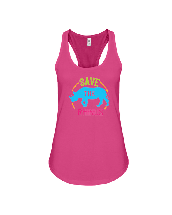 Save The Rhinos Tank-Top - Design 9 - Berry / S - Clothing rhinos womens t-shirts