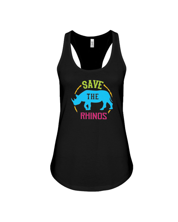 Save The Rhinos Tank-Top - Design 9 - Black / S - Clothing rhinos womens t-shirts
