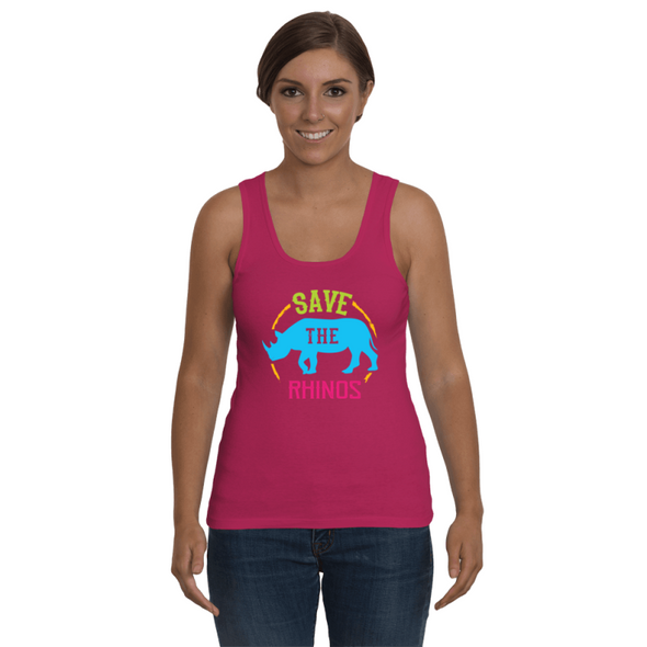 Save The Rhinos Tank-Top - Design 9 - Clothing rhinos womens t-shirts