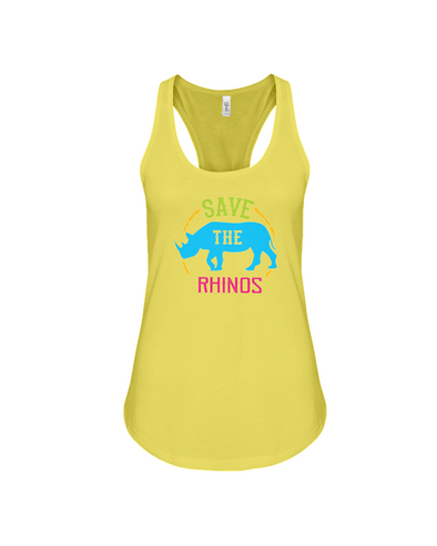 Save The Rhinos Tank-Top - Design 9 - Yellow / S - Clothing rhinos womens t-shirts