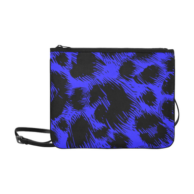 Slim Clutch Bag - New Leopard Pattern - Black-Blue Leopard - Accessories big cats hot new items leopards purses