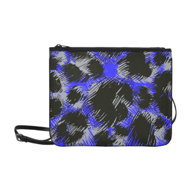 Slim Clutch Bag - New Leopard Pattern - Black-Blue-Gray Leopard - Accessories big cats hot new items leopards purses