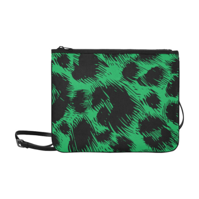 Slim Clutch Bag - New Leopard Pattern - Black-Green Leaopard - Accessories big cats hot new items leopards purses