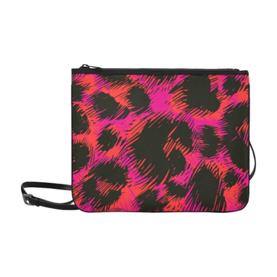 Slim Clutch Bag - New Leopard Pattern - Black-Pink-Orange Leopard - Accessories big cats hot new items leopards purses