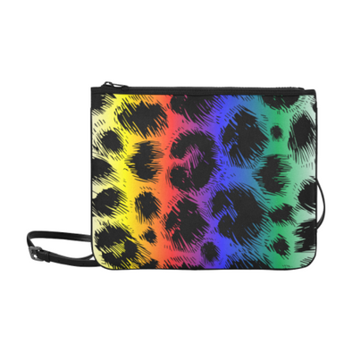 Slim Clutch Bag - New Leopard Pattern - Black-Rainbow Leopard - Accessories big cats hot new items leopards purses