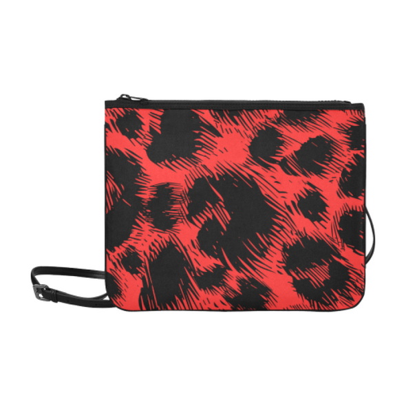 Slim Clutch Bag - New Leopard Pattern - Black-Red Leopard - Accessories big cats hot new items leopards purses
