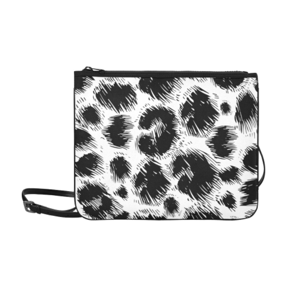 Slim Clutch Bag - New Leopard Pattern - Black-White Leopard - Accessories big cats hot new items leopards purses