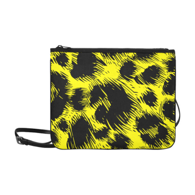 Slim Clutch Bag - New Leopard Pattern - Black-Yellow Leopard - Accessories big cats hot new items leopards purses