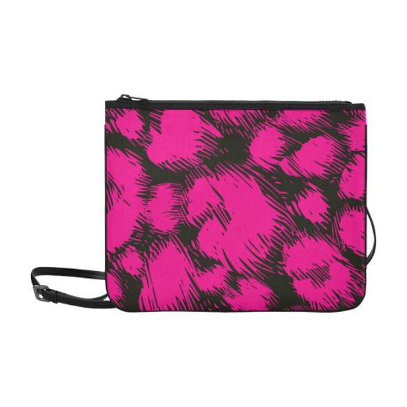 Slim Clutch Bag - New Leopard Pattern - Hot Pink-Black - Accessories big cats hot new items leopards purses