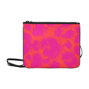 Slim Clutch Bag - New Leopard Pattern - Pink-Orange Leopard - Accessories big cats hot new items leopards purses