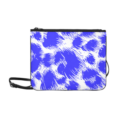 Slim Clutch Bag - New Leopard Pattern - White-Blue Leopard - Accessories big cats hot new items leopards purses