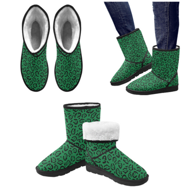 Snow Boots - Custom Jaguar Pattern - Green Jaguar / US5.5 - Footwear big cats boots jaguars snow boots