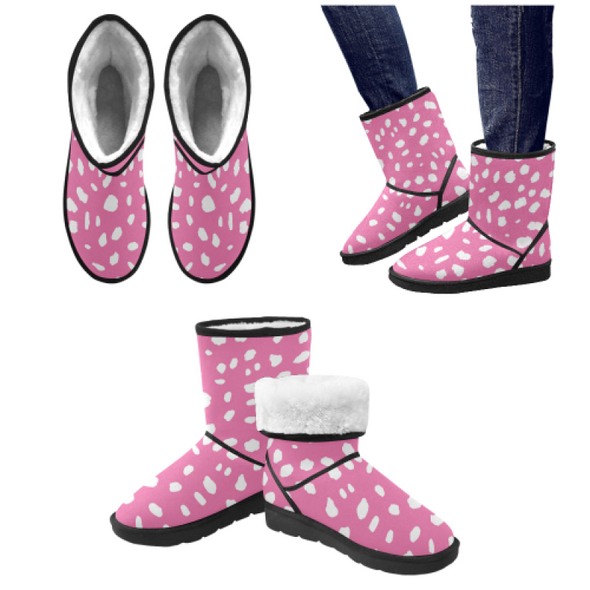 Snow Boots - Custom White Cheetah Pattern - Hot Pink Cheetah / US5.5 - Footwear boots cheetahs hot new items snow boots