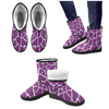 Snow Boots - Custom White Giraffe Pattern - Purple Giraffe / US5.5 - Footwear boots giraffes snow boots