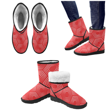 Snow Boots - Custom White Turtle Pattern - Red Turtle / US5.5 - Footwear boots snow boots turtles
