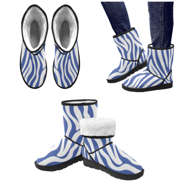 Snow Boots - Custom White Zebra Pattern - Blue Zebra / US5.5 - Footwear boots hot new items snow boots zebras