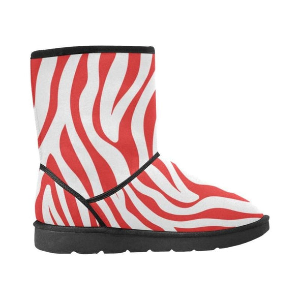 Snow Boots - Custom White Zebra Pattern - Footwear boots hot new items snow boots zebras