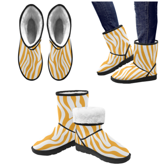 Snow Boots - Custom White Zebra Pattern - Orange Zebra / US5.5 - Footwear boots hot new items snow boots zebras