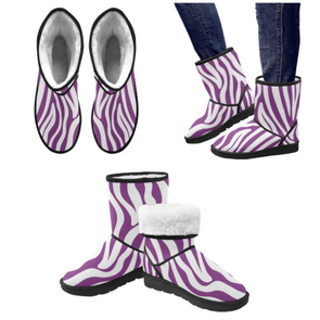 Snow Boots - Custom White Zebra Pattern - Purple Zebra / US5.5 - Footwear boots hot new items snow boots zebras