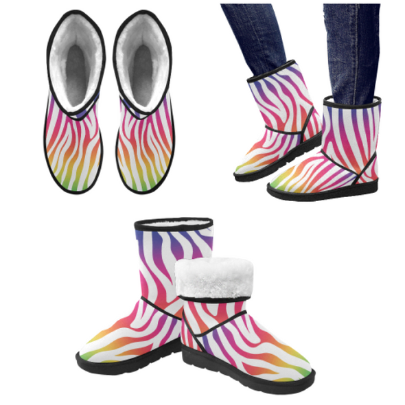 Snow Boots - Custom White Zebra Pattern - Rainbow Zebra / US5.5 - Footwear boots hot new items snow boots zebras