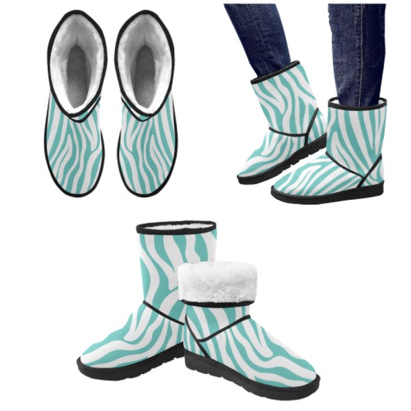 Snow Boots - Custom White Zebra Pattern - Turquoise Zebra / US5.5 - Footwear boots hot new items snow boots zebras