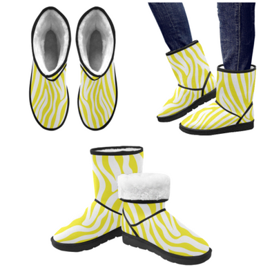 Snow Boots - Custom White Zebra Pattern - Yellow Zebra / US5.5 - Footwear boots hot new items snow boots zebras