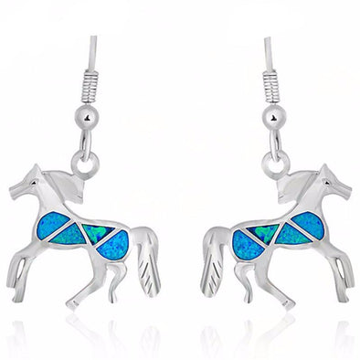 Sterling Silver Blue Fire Opal Horse Loop Earrings - Jewelry earrings horses opal
