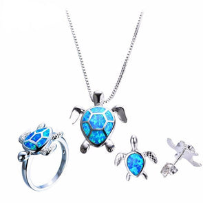 Sterling Silver Blue Fire Opal Turtle Pendant Necklace Ring & Earrings - Jewelry earrings necklaces opal rings turtles