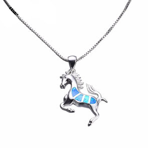 Sterling Silver Fire Blue Opal Horse Pendant & Necklace - Jewelry horses necklaces opal