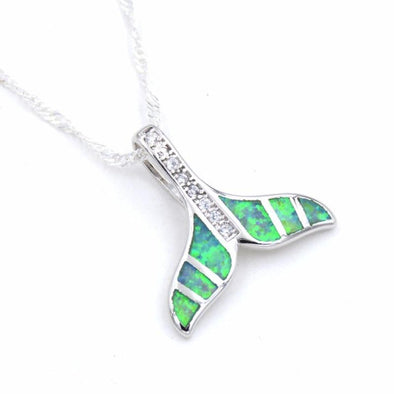 Sterling Silver & Fire White/Blue/Green Opal Dolphin Tail Pendant & Necklace - Green - Jewelry dolphins necklaces opal