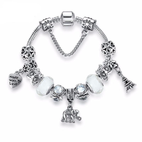 Tibetan Silver Elephant w/Heart & Eiffel Tower & Italian Murano White Glass Bead Bracelet - 7.08in / 18cm - Jewelry bracelets elephants