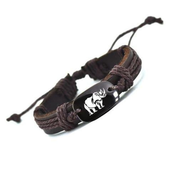 Tribal Rhino Leather Bracelet - Jewelry bracelets rhinos tribal