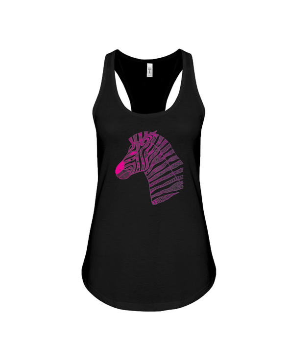 Tribal Zebra Print Tank-Top - Hot Pink/Purple - Black / S - Clothing womens t-shirts zebras
