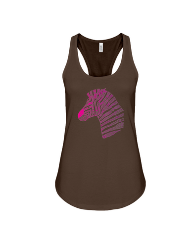 Tribal Zebra Print Tank-Top - Hot Pink/Purple - Chocolate / S - Clothing womens t-shirts zebras