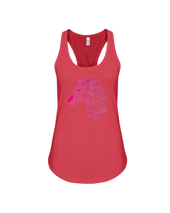 Tribal Zebra Print Tank-Top - Hot Pink/Purple - Red / S - Clothing womens t-shirts zebras