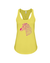 Tribal Zebra Print Tank-Top - Hot Pink/Purple - Yellow / S - Clothing womens t-shirts zebras