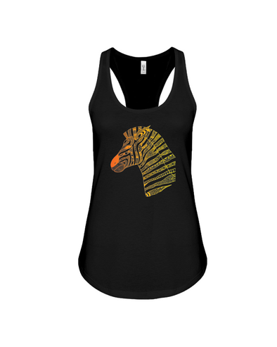 Tribal Zebra Print Tank-Top - Orange/Yellow - Black / S - Clothing womens t-shirts zebras