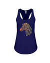 Tribal Zebra Print Tank-Top - Orange/Yellow - Navy / S - Clothing womens t-shirts zebras