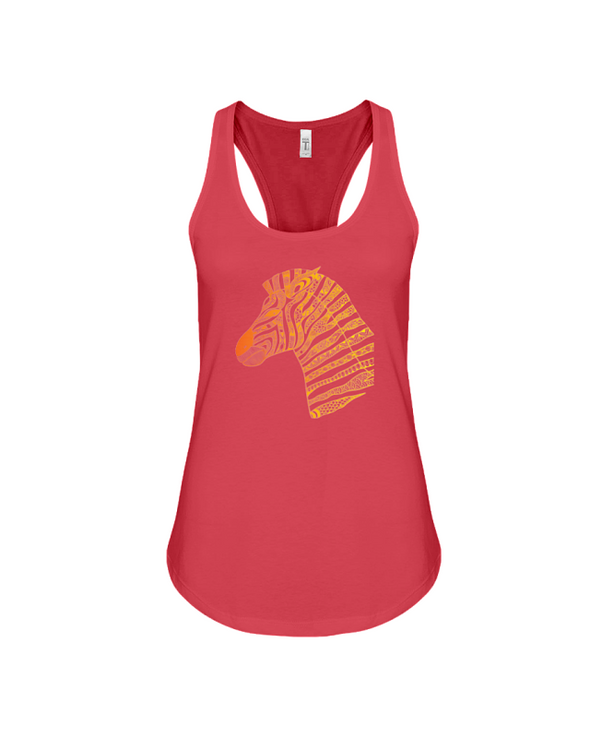 Tribal Zebra Print Tank-Top - Orange/Yellow - Red / S - Clothing womens t-shirts zebras