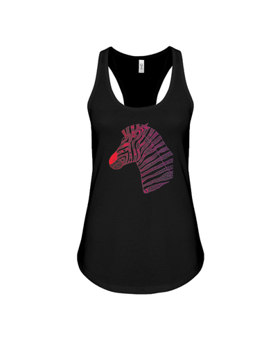 Tribal Zebra Print Tank-Top - Red/Purple - Black / S - Clothing womens t-shirts zebras