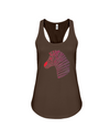 Tribal Zebra Print Tank-Top - Red/Purple - Chocolate / S - Clothing womens t-shirts zebras
