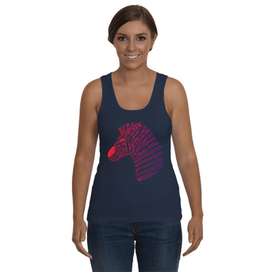 Tribal Zebra Print Tank-Top - Red/Purple - Clothing womens t-shirts zebras