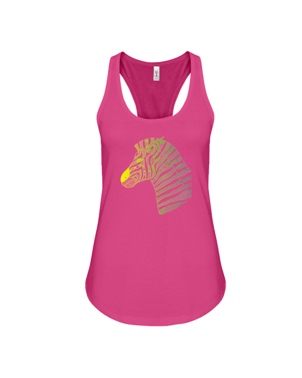 Tribal Zebra Print Tank-Top - Yellow/Green - Berry / S - Clothing womens t-shirts zebras