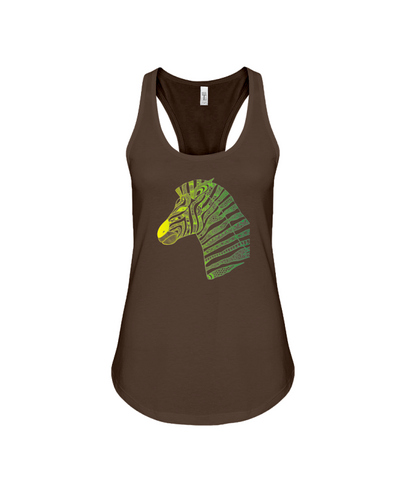 Tribal Zebra Print Tank-Top - Yellow/Green - Chocolate / S - Clothing womens t-shirts zebras