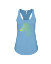 Tribal Zebra Print Tank-Top - Yellow/Green - Ocean Blue / S - Clothing womens t-shirts zebras
